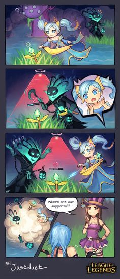 Sona and Thresh having wards fight, while Caitlyn and Jinx lollygagging. by justduet