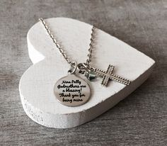 Godmothers are a Blessing, Thank you, Godmother Gift, Godmother Necklace, God Mother, Customized, Silver Necklace, Charm Necklace, Gifts by SAjolie, $26.95 USD