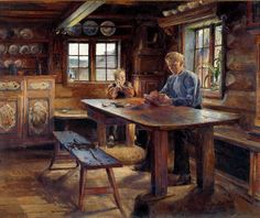 'Lekseoverhøring, 1888 ' by Harriet Backer from Reading and Art New Artists, Great Artists, Female Painters, Scandinavian Art, Historic Homes, Contemporary Paintings, Figurative Art, All Art, Creative Art