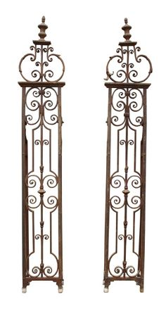 PAIR OF GEORGIAN WROUGHT AND CAST IRON GATE POST PIERS - UK Architectural Heritage