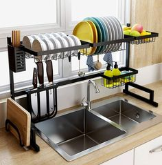tinyhousecourses Love this over the sink dish rack! Great space saver for tiny homes. ___________________________________________⁣⁣⁣⁣⁣⁣ tinyhousecourses Love this over the sink dish rack! Great space saver for tiny homes. Kitchen Organization, Kitchen Storage, Kitchen Decor, Storage Area, Kitchen Ideas, Kitchen Supplies, Kitchen Drying Rack, Organization Ideas, Kitchen Dining