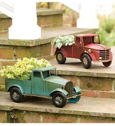 Metal Vintage-look Truck Planters - way cool.