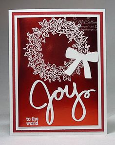 Red Foil Wreath by darhm - Cards and Paper Crafts at Splitcoaststampers - Paper creating = happiness Scrapbook Christmas Cards, Chrismas Cards, Create Christmas Cards, Homemade Christmas Cards, Xmas Cards, Handmade Christmas, Homemade Cards, Holiday Cards, Elegant Christmas