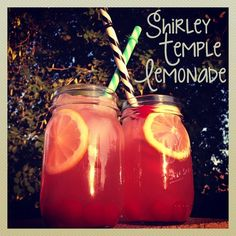 Summertime drink recipe for Shirley Temple Lemonade. Easy to make. Simple ingredients. Adorable results.