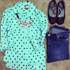 Mint and polka dot button up from Target, flirt jeans from Old Navy, and ribbon statement rhinestone necklace from Ebay.