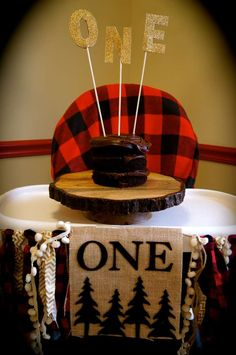 Chocolate cake at a lumberjack first birthday party! See more party planning ideas at CatchMyParty.com!