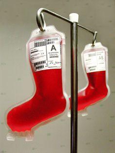 Bolsas para transfusiones de sangre muy navideñas de Kiseung Lee