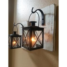 Wall Sconce Set Wall Decor Housewarming Gift Wrought Iron Hook White... ($42) ❤ liked on Polyvore featuring home, home decor, candles & candleholders, black, home & living, home décor, wall décor, white tealight candles, white lantern and white tea candle