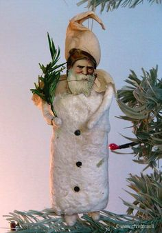 Antique Cotton Santa Ornament with a Crepe Paper Hood