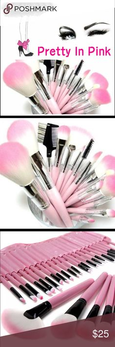 32 Piece Makeup Brush Set  32 piece pink makeup brush set with case. Perfect for traveling or for your busy, fast-paced lifestyle. It is one of the most popular Makeup Brush Sets out there. Has every single brush you need. This set includes 32 unique brushes to help create an array of different looks. The brushes are made of Natural hair and they come in a cute pink case that rolls up. 100% Brand New Comes with a handy and portable roll up case, and each brush packed in a plastica bag…