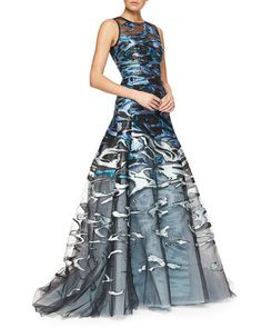 Wave Jacquard & Embroidered Tulle Full Gown by Carolina Herrera at Neiman Marcus.