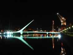 Puente de la Mujer is a rotating footbridge for Dock 3 of the Puerto Madero commercial district of Buenos Aires, Argentina Santiago Calatrava, Central America, South America, Tourist Information, Down South, Continents, Wonderful Places, The Neighbourhood, Tourism
