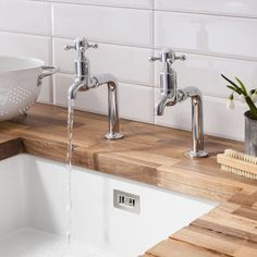 Crosswater Cucina Belgravia Crosshead Pair of Bib Taps - Chrome  These stunning traditional style kitchen taps are perfect for kitchens with a rustic or traditional style.  Available now at http://www.tapwarehouse.com/product/crosswater-cucina-bl726dc