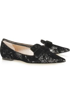 JIMMY CHOO Gala flocked sequined leather point-toe flats...LOVE LOVE LOVE