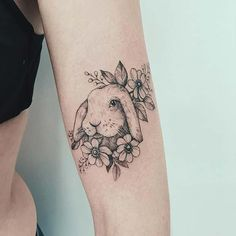 23 Most Beautiful Tattoos for Girls to Copy in 2019 - crazyforus Bunny Tattoos, Cute Girl Tattoos, Rabbit Tattoos, Sister Tattoos, Arm Tattoos, Mini Tattoos, Small Tattoos, Cool Tattoos, Animal Tattoos