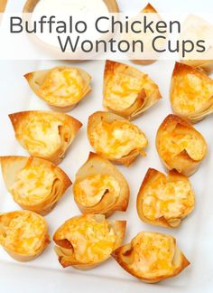Buffalo Chicken Wonton Cups - A fun twist on the most popular appetizer! Enjoy a. - Buffalo Chicken Wonton Cups – A fun twist on the most popular appetizer! Enjoy all the flavors of - Wonton Appetizers, Popular Appetizers, Wonton Recipes, Appetizer Recipes, Snack Recipes, Cooking Recipes, Appetizer Ideas, Chicken Recipes, Asian Appetizers