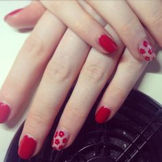 CND Shellac set with floral negative space nails.