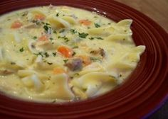 Creamy Turkey Soup Recipe - Genius Kitchen This goes together in a flash-and is really flexible for using ingredients on hand. You can either make this with noodles or dumplings, or leave them out. We like our soup salty, so adjust that to your taste. Turkey Noodle Soup, Turkey Broth, Turkey Sausage, Leftover Turkey Recipes, Leftovers Recipes, Cream Of Turkey Soup, Cream Soup, Soup Recipes, Cooking Recipes