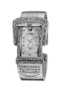 Akribos XXIV Silver Diamond & Mother-of-Pearl Bangle Watch Diamond Quartz, Diamond Bangle, Best Watch Brands, Cool Watches, Amazing Watches, Fine Watches, Women's Watches, Silver Diamonds, Fashion Watches