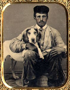 A Man and his Dog Sixth Plate Daguerreotype. - c.1850