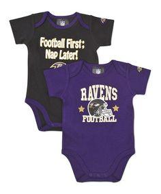 Infant Baltimore Ravens  White Bodysuit, Bib & Cap Set