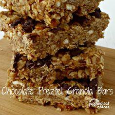 Chocolate Pretzel Granola Bars via Juggling Act Mama