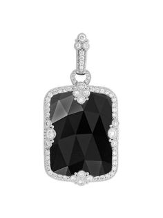Judith Ripka 18K White Gold Estate Black Onyx Pendant. White Gold Estate Influence Pendant with Black Onyx and a Pave` Diamond Frame. Total Diamond Weight is .78ctw.