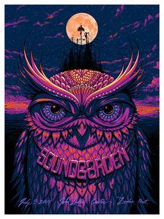 Jeff Soto poster for Soundgarden.. terrifying cosmic owl