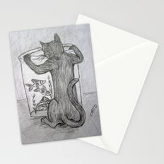 Curious Cat and the Goldfish Drawing Stationery Cards