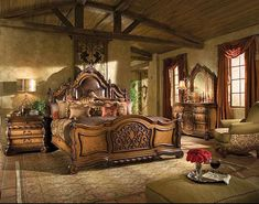 Amazing Rustic Italian Bedroom Decor Ideas You Have To See Old World Bedroom, Bedroom Sets, Home Decor Bedroom, Bedroom Furniture, Wooden Furniture, Tuscan Bedroom Decor, Old World Furniture, Royal Bedroom, Grey Furniture