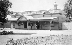 Young's Royal Hotel in Rainbow, with three men standing by the entrance, Victoria Australia, Borderlands, Geography, Entrance, Hotels, Museum, Rainbow, Cabin
