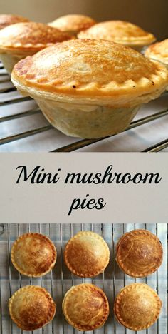 Mini Mushroom Pies, delicious vegetarian bites made in the pie maker. Super simple to make, they can make a great picnic recipe, or just a quick snack in between meals. Also great as vegetarian appetizers for every occasion. Mini Pie Recipes, Pastry Recipes, Cooking Recipes, Quiche Recipes, Mushroom Pie, Vegetarian Pie, Vegetarian Appetizers, Meat Appetizers, Comidas Light