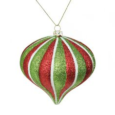 3.5 Merry & Bright Red, White and Green Glitter Stripe Shatterproof Christmas Onion Ornament 32256126 | ChristmasCentral