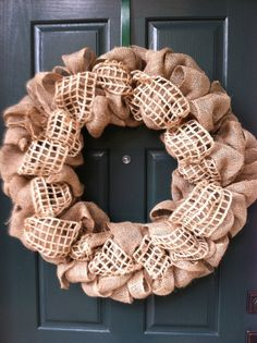Burlap and Waffle Weave Handmade Wreath by CelebrateEverything, $49.00