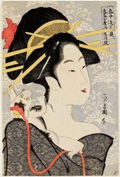 Motozue of the Daimonjiya, from the series Contest of Beauties of the Pleasure Quarters (Kakuchû bijin kurabe)  「郭中美人競 大文字屋内本津枝」  Japanese, Edo period, about 1795–97 (Kansei 7–9)  Artist Chôkôsai Eishô, Japanese, active 1780–1800, Woodblock print (nishiki-e); ink and color on paper, MFA