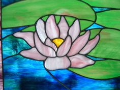 Stained Glass Lotus Panel Water Lily Suncatcher by islandglass1