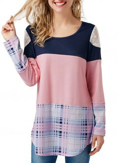 Long Sleeve Patchwork Round Neck Printed T Shirt | Rosewe.com - USD $29.94