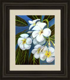 Plumeria Framed Print featuring the painting Blue Sky Plumeria by Michele Ross