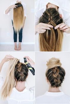 Upside Down Braided Bun Tutorial