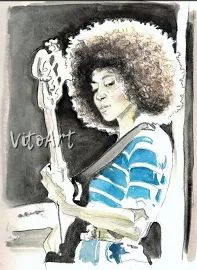 Esperanza Spalding Jazz Art Print Portrait Afro Bass Guitar Music Watercolor Wall Decor Limited Edition Poster Print Esperanza Spalding, Jazz Art, Watercolor Walls, Poster Prints, Art Prints, Afro, Wall Decor, Portrait, Anime