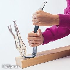 Double Up on Stubborn Nails - Nails can be a pain to remove, especially trim nails with small heads and any nail when the head breaks off. The trick is to use two tools together: locking pliers to grab the nail shank, and a pry bar to do the pulling. Woodworking Projects For Kids, Woodworking Tips, Youtube Woodworking, Woodworking Machinery, Woodworking Supplies, Woodworking Workbench, Woodworking Workshop, Handyman Projects, Tools And Toys