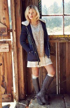 Fancy - Coffee Shop Coat, BP. Sweater & Lush Skater Dress