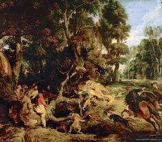 Peter Paul Rubens : Boar Hunt (Gemäldegalerie Alte Meister - Staatliche Kunstsammlungen Dresden (Germany - Dresden)) 1577-1640 ピーテル・パウル・ルーベンス