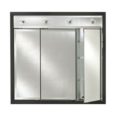 Afina Signature Contemporary Lighted Triple Door 38W x 34H in. Recessed Medicine Cabinet - TD/LC3834R