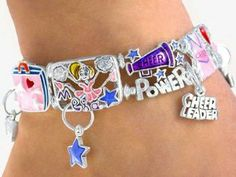 """I Love to Cheer - Cheer Power Cheerleader"" Charm Bracelet Jewelry"