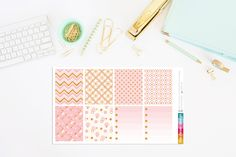 Boho Chic Pink and Gold Planner Stickers by TheCleverDesign on Etsy