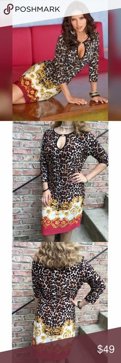 """Boston Proper Animal Print Dress Worn once. Boston Proper Animal scroll shift dress. The dress is a size large and meant to be fitted. The model is a size 4 that's why it looks loose on her. No flaws. Made of poly/ spandex blend. Measures from pit to pit 19""""/ length 38"""". Reasonable offers considered through offer button only Boston Proper Dresses"""