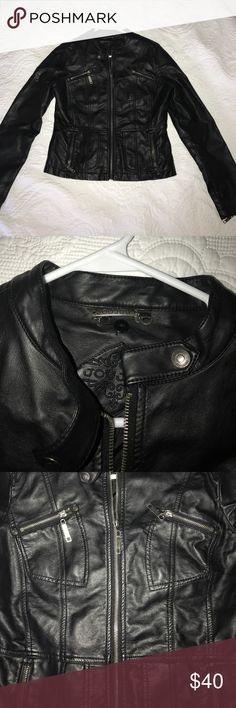 Leather Jacket Jou Jou black leather jacket just in time for fall! Slim fit. Jou Jou Jackets & Coats