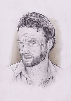 Andrew Lincoln, Rick Grimmes, The Walking Dead, Pencil on paper, inches Andrew Lincoln, The Walking Dead, Wings, Pencil, Sketch, Draw, Paper, Artwork, Cards