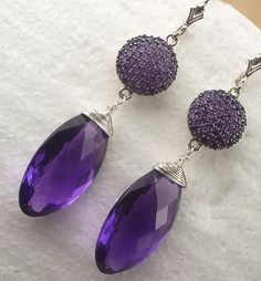 Amethyst Gemstone Pave Luxury Earrings Wire by TownCountryJewelry, $295.00